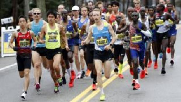 Runners competing at the Boston Marathon on Monday 15 April