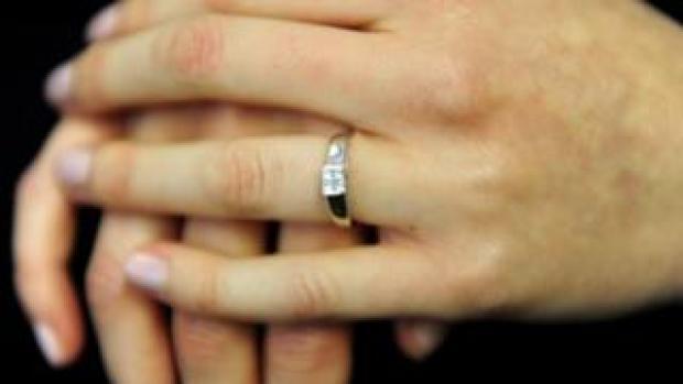 An engagement ring worn on a finger (file photo)