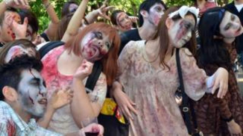 A 'zombie walk' at a park in Tokyo on May 17, 2014