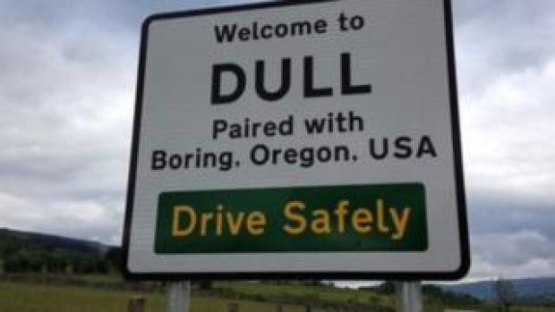 Dull and Boring road sign