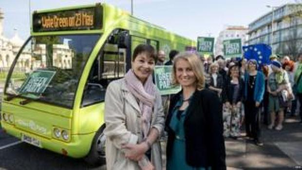 Caroline Lucas campaigning with Green Party candidate Alexandra Phillips
