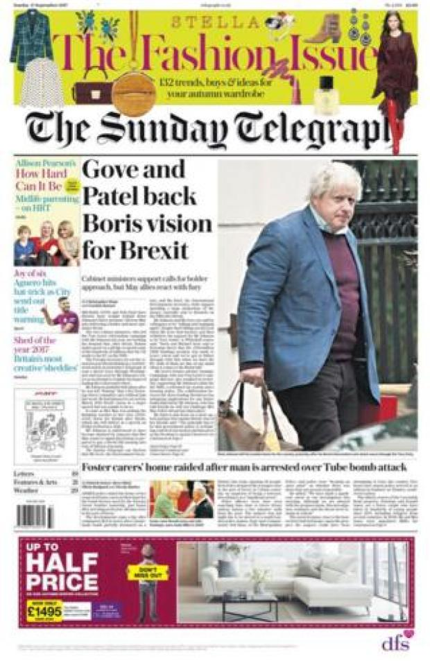 The Sunday Telegraph front page 17/09/2017