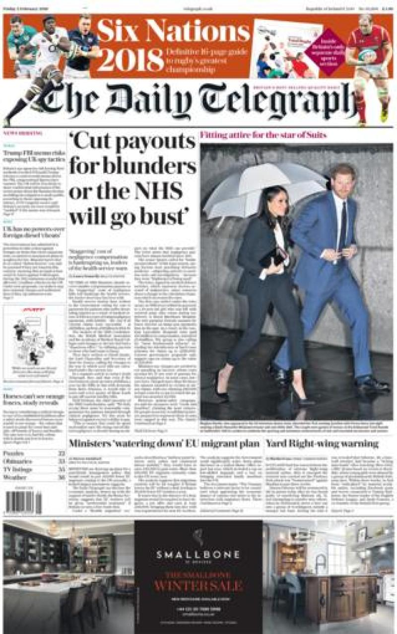 Daily Telegraph front page - 02/02/18