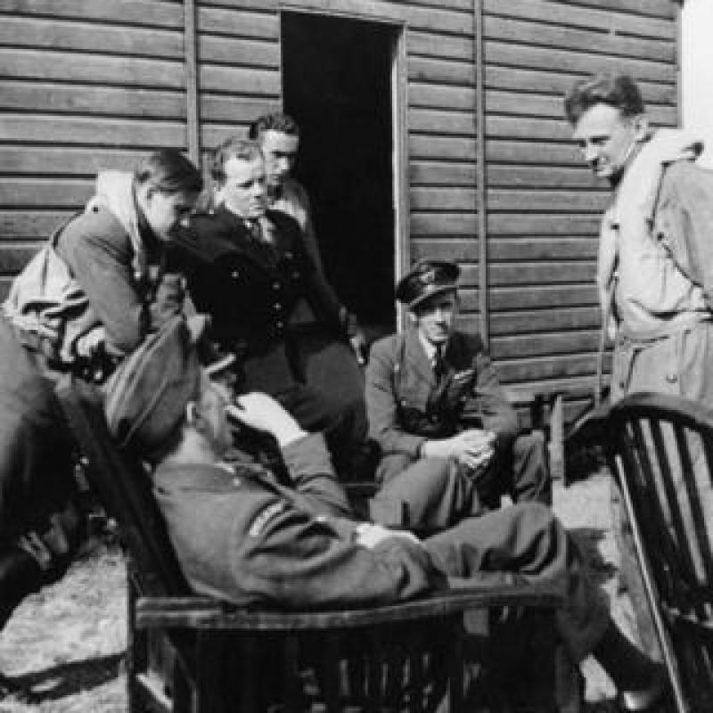 Members of 303 squadron in September 1940 - Frantisek is standing closest to the door of the hut