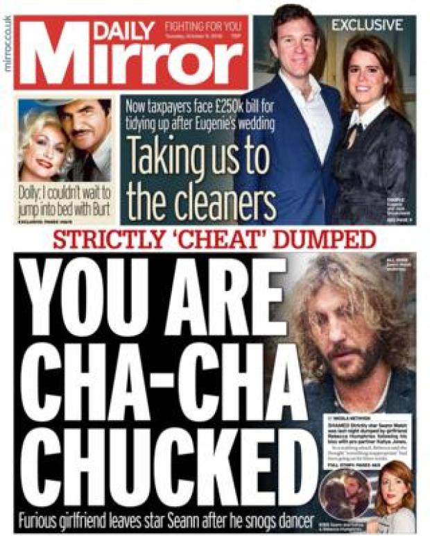 Daily Mirror front page - 09/10/18