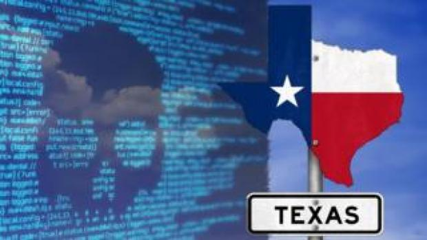Screen of ransomware graphics and Texas flag
