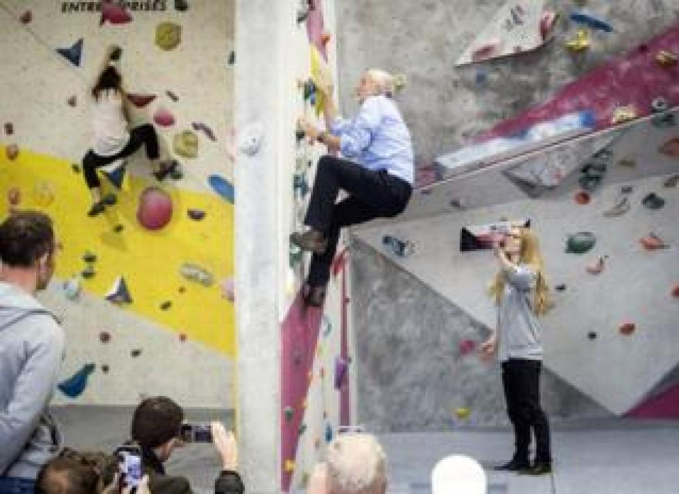 Labour leader Jeremy Corbyn on a climbing wall