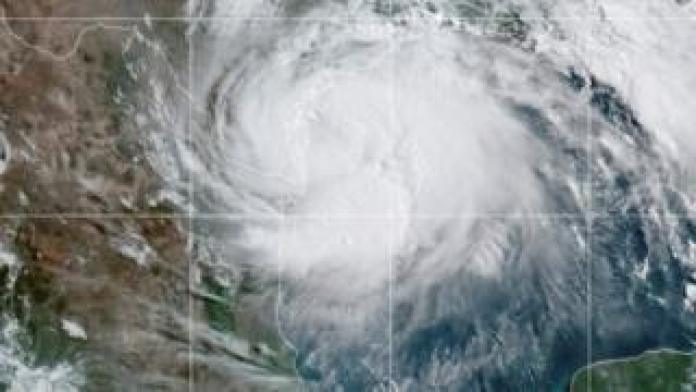A satellite image shows Hurricane Hanna approaching the coast of Texas. Photo: 25 July 2020