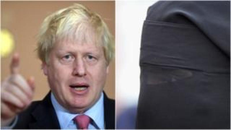 Boris Johnson and woman in burka