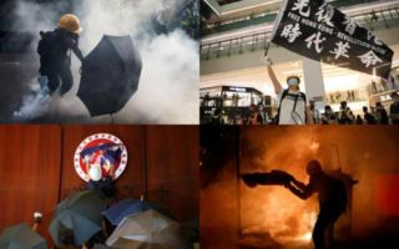 A composite of scenes from last year's protests