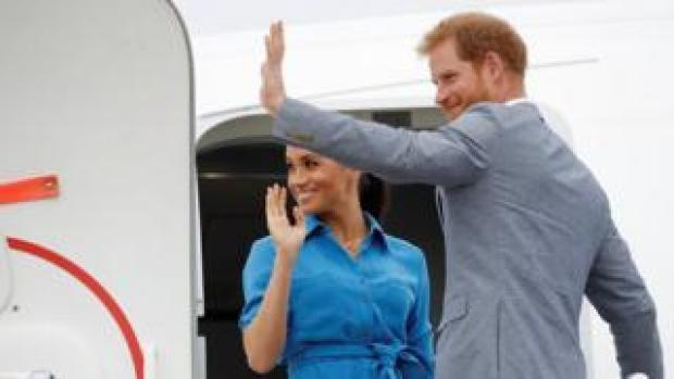 The Duke and Duchess of Sussex leaving Tonga