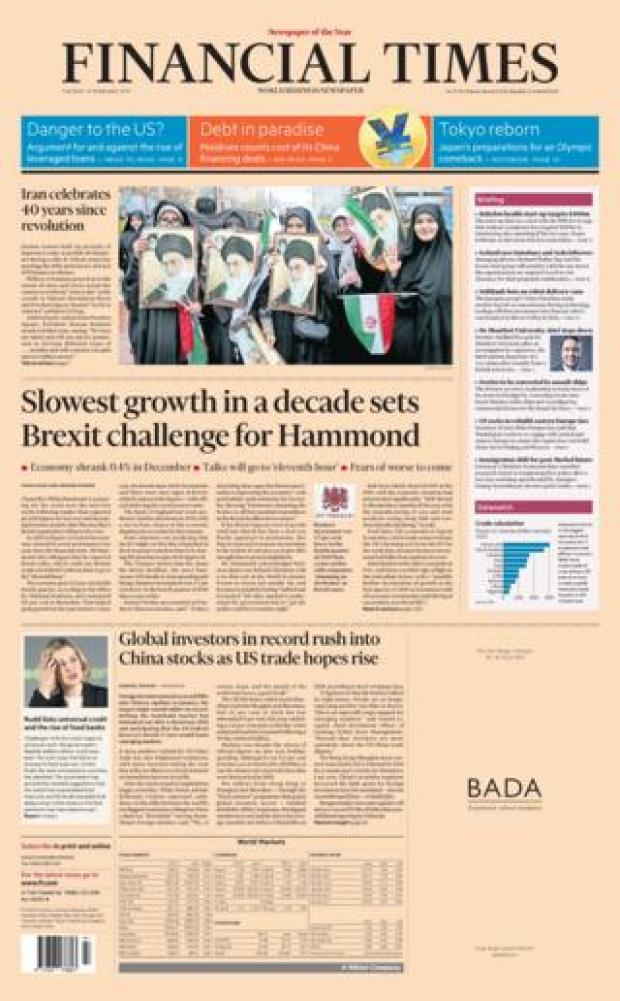 Financial Times front page 12/02/19