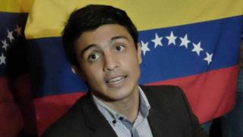 """Student and president of the Venezuelan non-governmental organization """"Operacion Libertad"""" (Operation Freedom) Lorent Saleh during a meeting"""