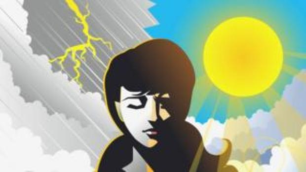 Illustration of woman with sun and thunder in background