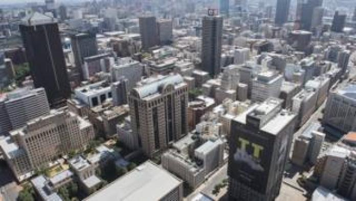 Aerial view of city of Cape Town