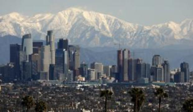 The San Gabriel mountains - a snowy backdrop to downtown LA on 6 February