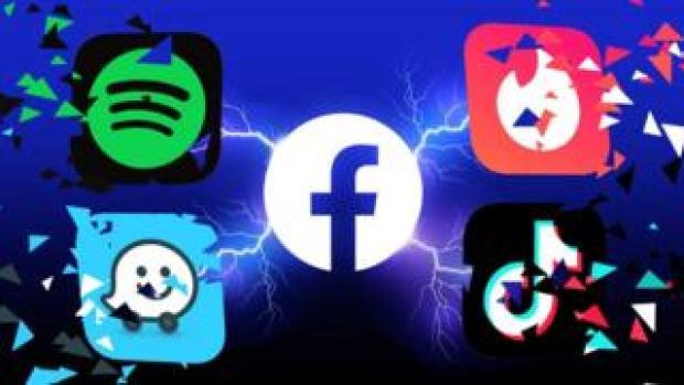 Facebook logo next to Spotify, Tinder, Waze and TikTok logos