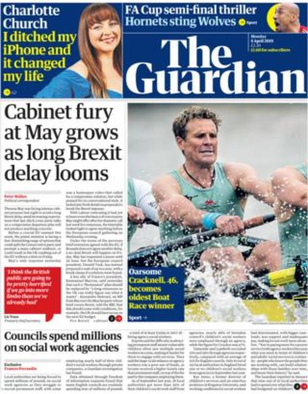 Guardian front page, 8/4/19