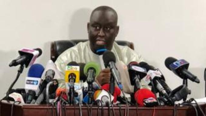 Aliou Sall speaks during a news conference