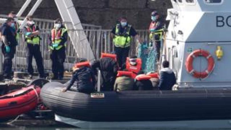 Migrants arriving at Dover on Saturday