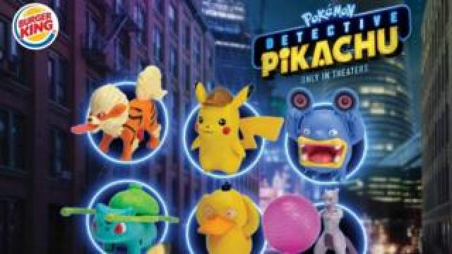 Burger King's Detective Pikachu King Junior Meal toys