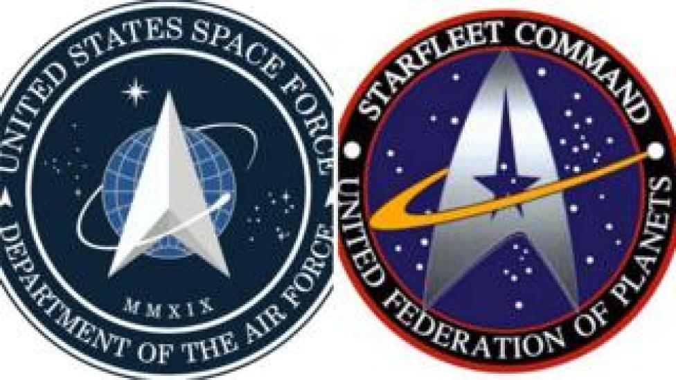 trump US Space Force logo on left and the Star Trek emblem on right