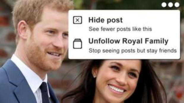 """A photoshopped composite showing a smiling Harry and Meghan, overlaid with a """"hide post - see less like this"""" mock-up in a style similar to Facebook"""