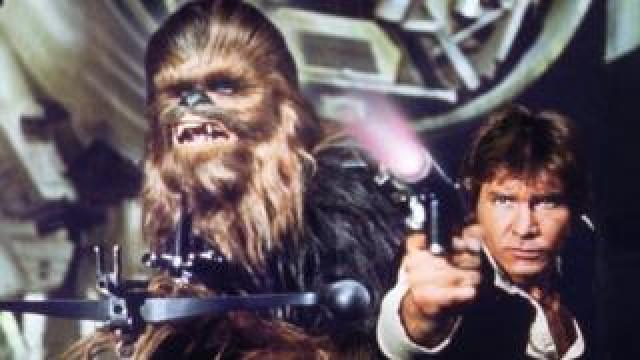 Peter Mayhew plays Chewbacca, and Harrison Ford in Star Wars Episode IV. Photo: 1977