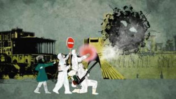 Illustrated image of medics fighting coronavirus
