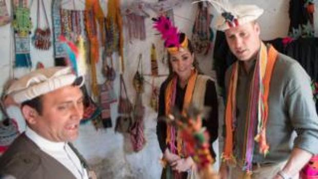Duke and duchess of Cambridge visit a settlement of the Kalash people