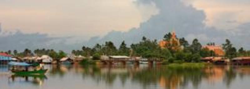 View of the riverbank in Kampot, Cambodia