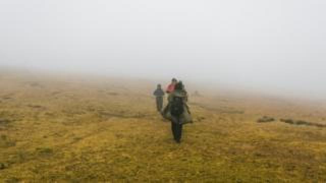 Green Group members work in heavy fog