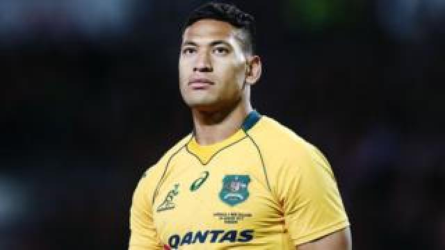 Israel Folau playing for the Wallabies in New Zealand in 2017
