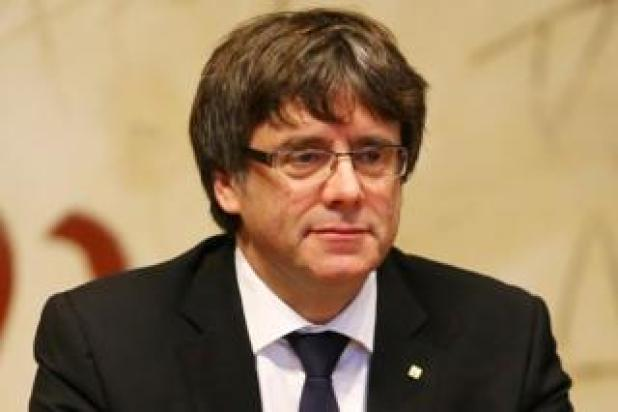 Catalan leader Carles Puigdemont at a cabinet meeting in Barcelona, 10 October