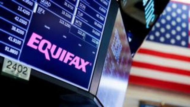 A view of a sign for the company Equifax on the floor of the New York Stock Exchange in New York,, 12 September