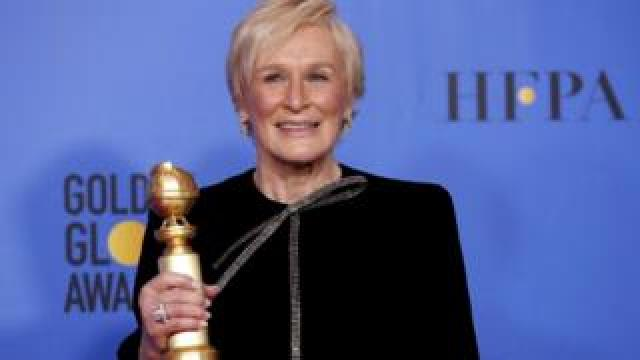 Glenn Close with her Golden Globe