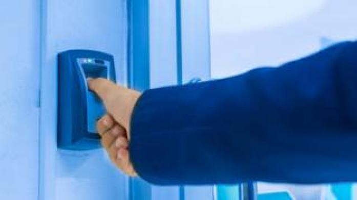 A fingerprint reader in a secure building