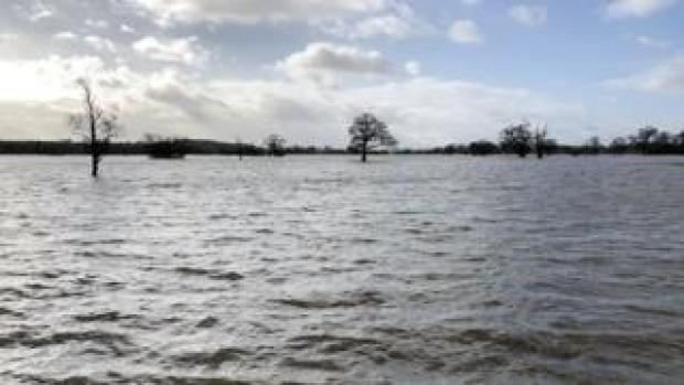 Flooded plains in south Worcestershire