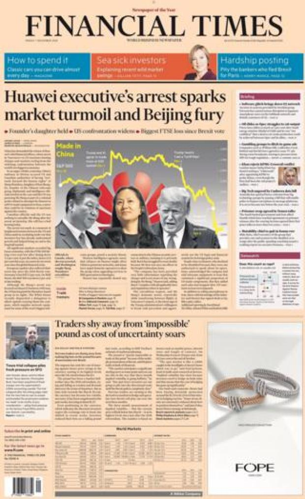 Financial Times front page, 7/12/18
