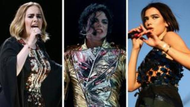 Adele, Michael Jackson and Dua Lipa