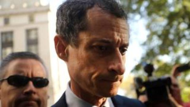 Former congressman Anthony Weiner arrives at a New York courthouse for his sentencing, 25 September 2017