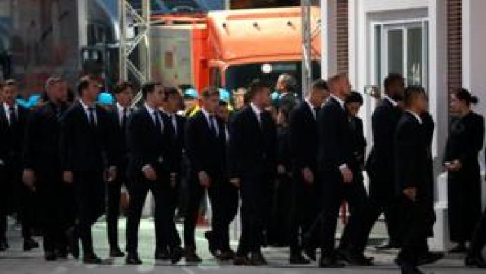 Leicester City players arrive to owner Thai businessman Vichai Srivaddhanaprabha's funeral in Bangkok,