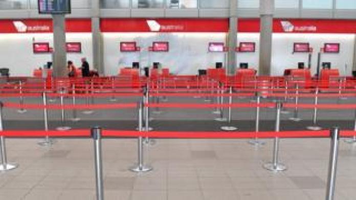 Empty counter of Virgin Australia airline