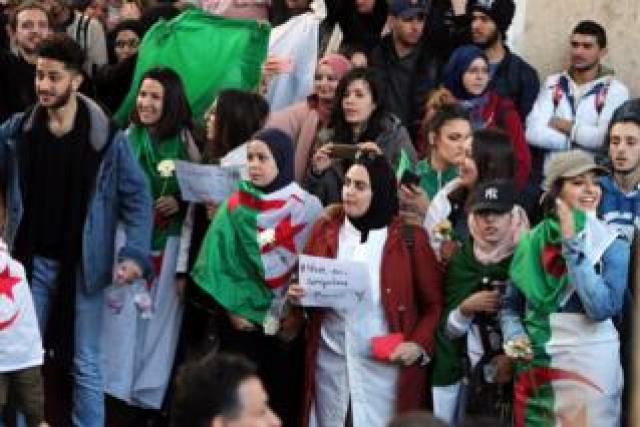 Algerian university students protest inside university campus against the fifth term of President Abdelaziz Bouteflika in Algiers