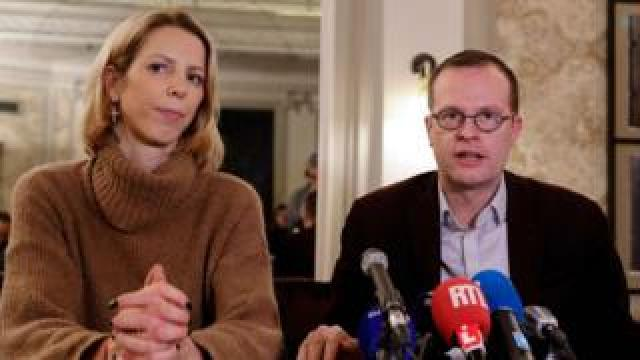 Jean Der Agopian (left), press relations officer, and Benjamin Blanchard, director general of the French charity SOS Chretiens d'Orient (Christians of the Middle East) give a press conference in Paris on 24 January 2020