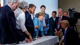 G7 leaders in La Malbaie, Quebec, Canada, on 9 June 2018