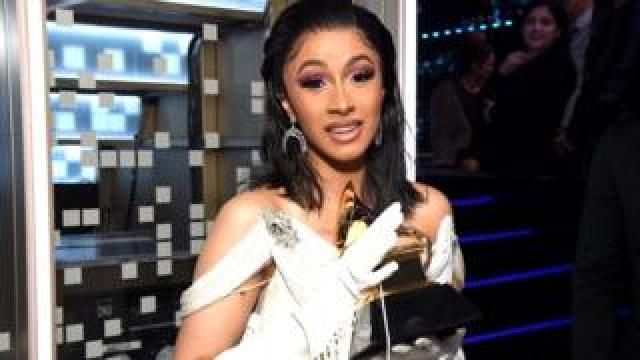 Cardi B with her Grammy award