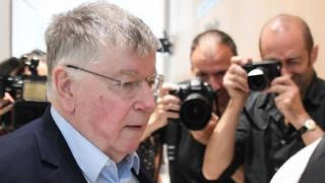 Didier Lombard arrives in Paris court, 11 Jul 19, for last day of trial