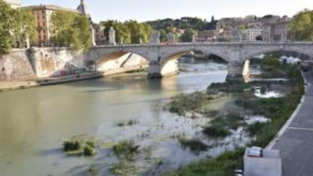 The Tiber river during the drought that hit the city of Rome, Italy, 28 August 2017