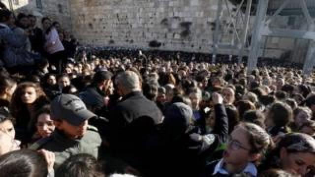 "Thousands of Ultra Orthodox Jewish girls gather at Judaism""s holiest prayer site of the Western Wall in the Old City of Jerusalem on 8 March 2019"